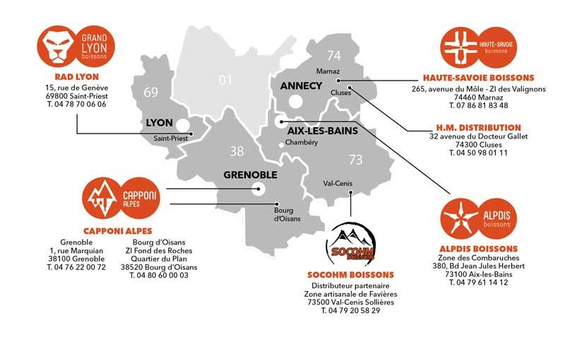 Carte région Rhône-Alpes Distribution